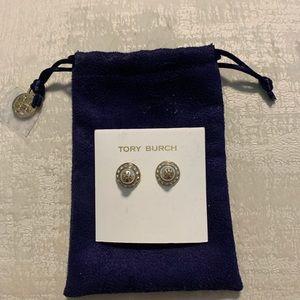 Tory Burch stud pearl earrings NWT